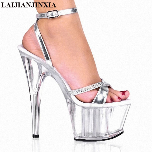 92822e08e2f LAIJIANJINXIA Crystal Noble Rhinestone Princess Dinner Formal Dress 15cm  High-Heeled Shoes 6 Inch Silver Sexy All-Match Sandals