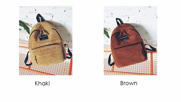 2016 New Women Backpack Preppy Style Suede Backpacks Teenage Girls School Bags Vintage Rivet Travel Backpack Burgundy Gray Black (2)