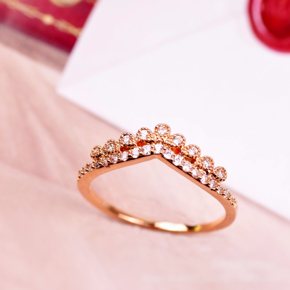 Rose gold plated crown ring fashion 2016 women wedding jewelry cubic ...