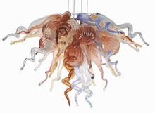Antique Style Chandelier for Home Decoration Led Light Source Small Cheap Hand Blown Glass Chain