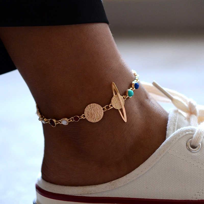 GUVIVI Planet Anklets สำหรับผู้หญิง Gold สีลูกปัดหิน Planet เท้าสร้อยข้อมือฤดูร้อนชายหาดเครื่องประดับขาข้อเท้า