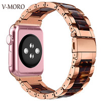 V MORO 2018 New WATCH BAND For APPLE WATCH 42MM 38mm Bands Resin Stainless Steel Strap