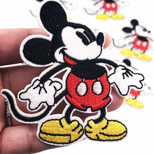 1Pcs Mickey Iron On Patch Sewing On Embroidered Applique Fabric for Jacket Badge DIY Custom Clothes Apparel Stickers Patches(China)