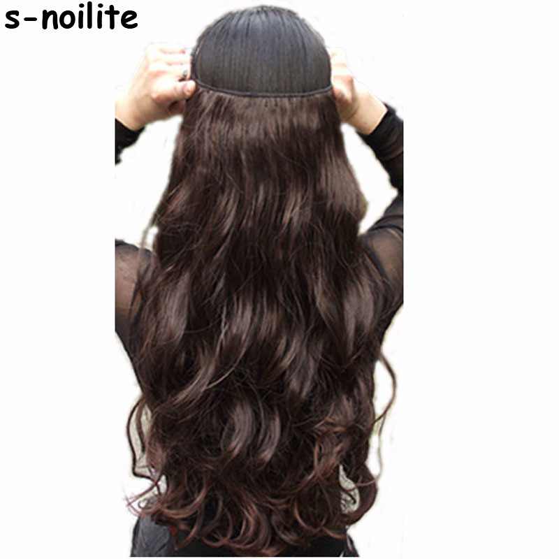 "S-noilite 18-28""  Long Clip In One Piece Hair Extensions Synthetic 100% Real Natural Hair Extentions 3/4 Full Head Black Brown"