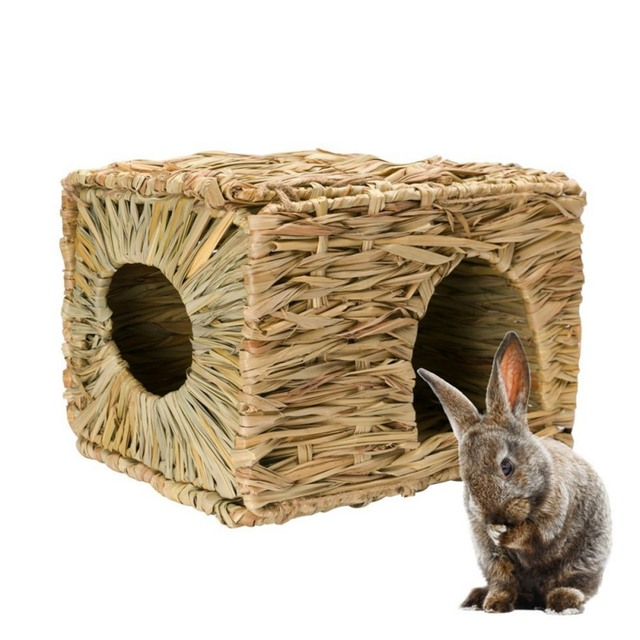 Рукоделие тканые трава хомяк гнездо маленького питомца кролика хомяк клетка дом, игрушки Складная свинья крыса ежики Шиншилла кровать