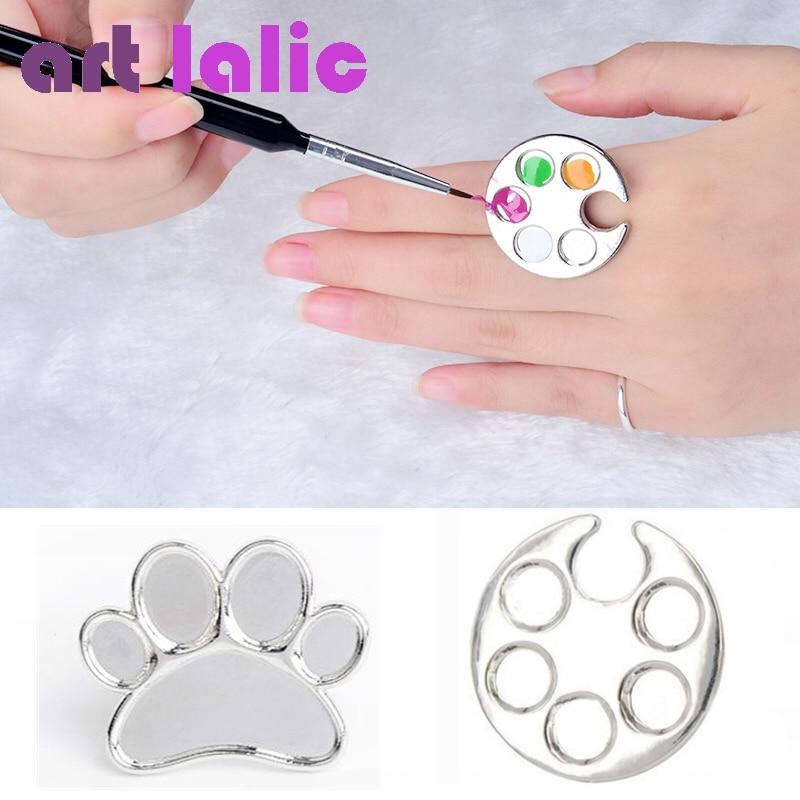 Artlalic 1 Pc Mini Nail Art Metall Finger Ring Palette Dish Uv Gel Polnischen Malerei Zeichnung Malen Farbe Pigment Halter Platte