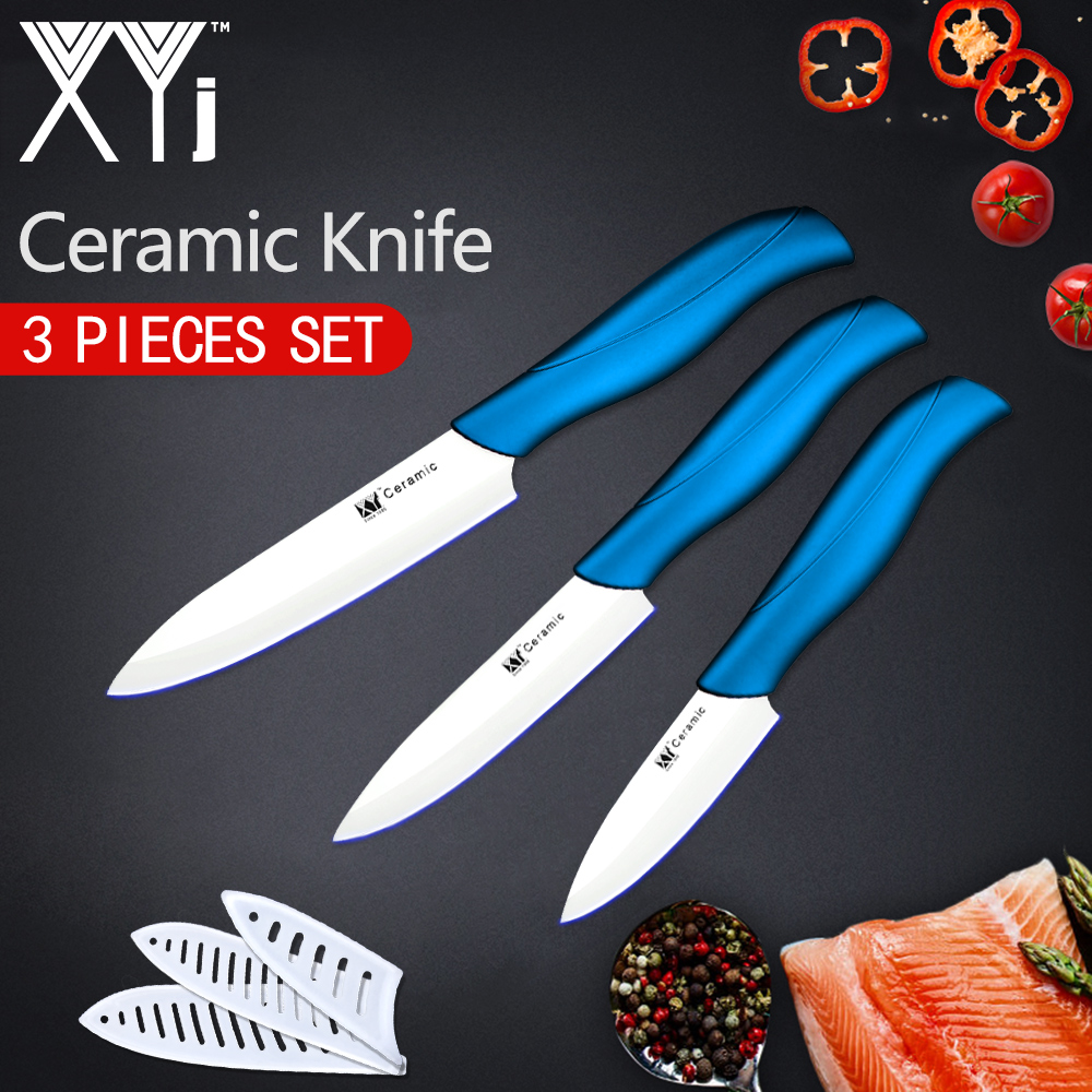 XYj Kitchen Knife Ceramic Cooking Knife Set Accessories 3 4 5 Sharp Blade Paring Fruit Vege Hot Knife Kitchen Tools + Covers