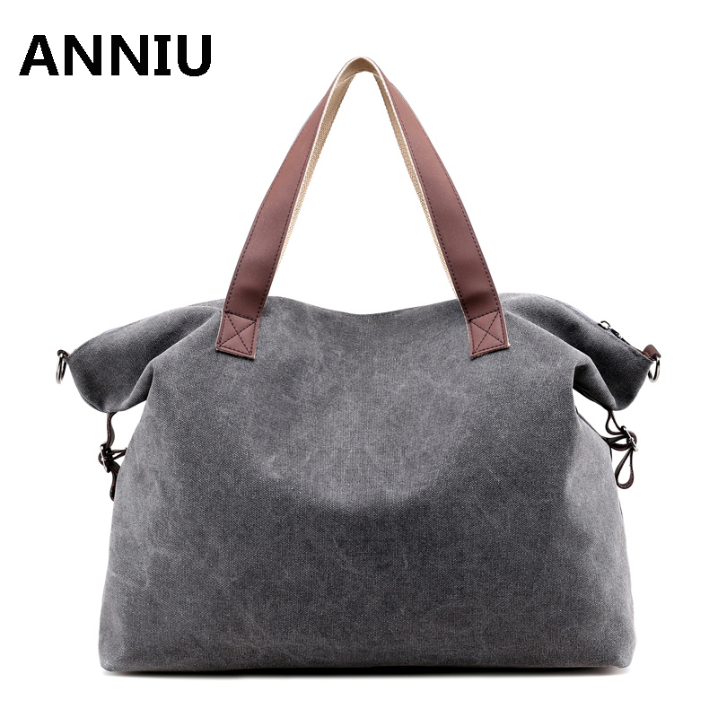 ANNIU 2017 New Fashion Women Large Capacity handbags Causal Canvas High Quality Tote Girl messenger bags crossbody bag aosbos fashion portable insulated canvas lunch bag thermal food picnic lunch bags for women kids men cooler lunch box bag tote