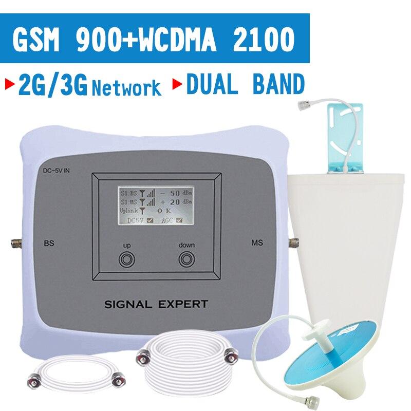 Répéteur GSM 900 WCDMA 2100 (bande 1) amplificateur de Signal de téléphone portable Booster 2G 3G cellulaire Internet 2100 amplificateur 70dB Gain LCD
