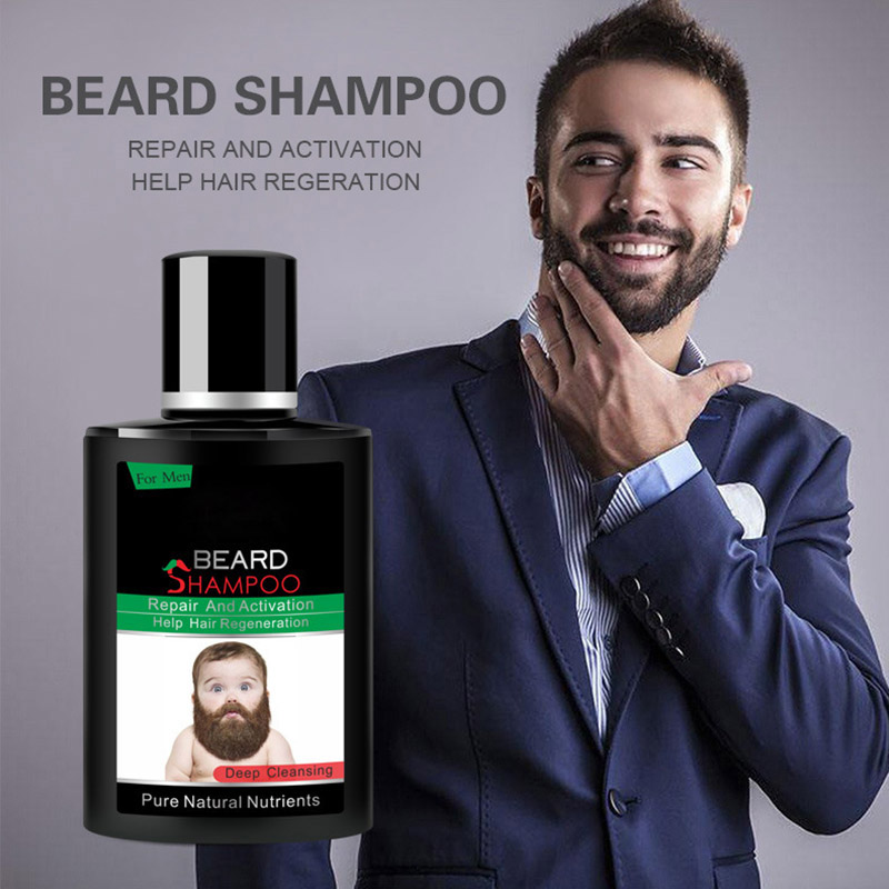 Hot Sale Men Beard Wash Shampoo Deep Cleansing Nourish Natural Luster Foam Care Fluid