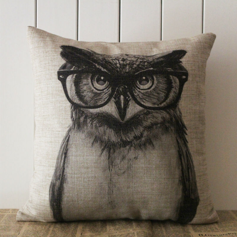 LINKWELL Pillow Case Burlap Cushion Cover 18x18 inch BIg Cool Black Owl with Glass Cute Pattern for Children Room Decoration