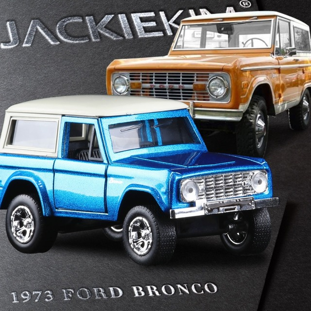 High Simulation 1 32 Scale Jada 1973 Ford Bronco Blue Orange Alloy Model Car Toy For Baby Gifts Free Shipping