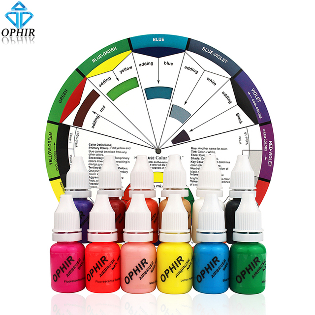 OPHIR 12 Colors Airbrush Nail Ink Pigment W Color Wheel 10ML Bottle Acrylic Water