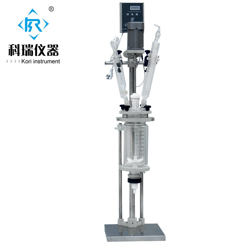 High borosilicate GG3.3 Cylindrical Double Layer Jacketed Reactor/5L chemical glass reactor laboratory equipment manufacturer 2l explosion proof motor driven jacket chemical reactor double neck glass reaction vessel reaction equipment