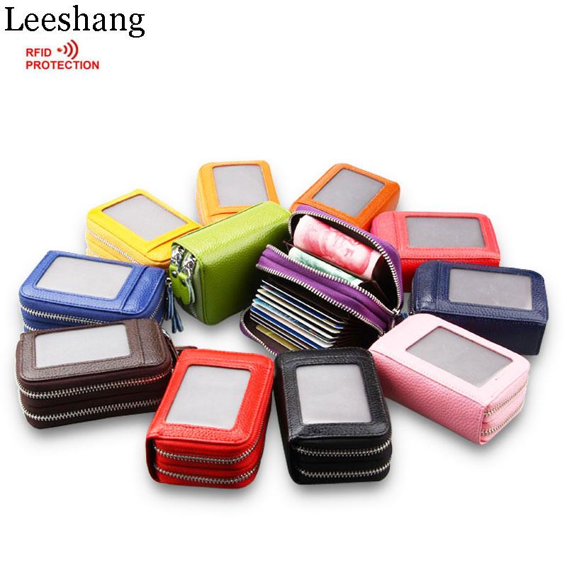 Leeshang 2017 fashion double zipper rfid wallet women genuine leather credit card holder wallet woman wallet