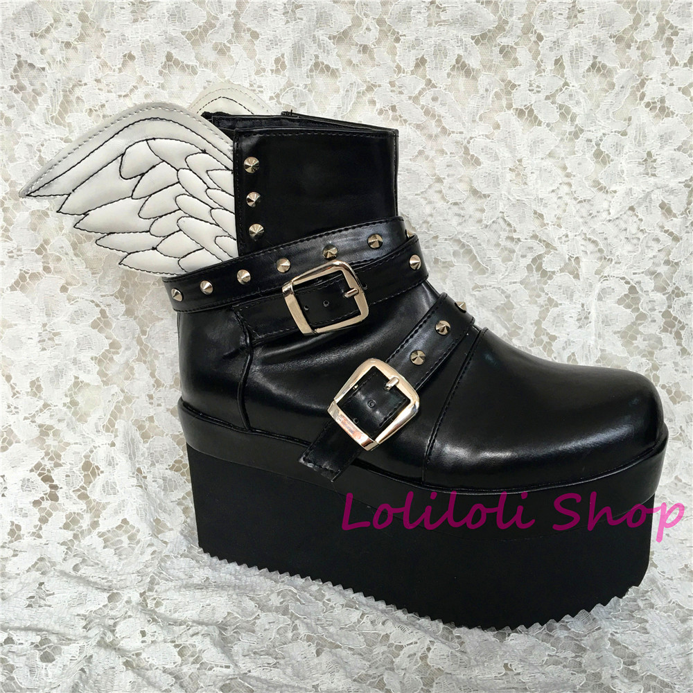 Piel Blancas S Negro Con Gruesos Antaina Princesa Negro Plano De Fondo Personalizados Dulce 5275 Alas Lolilloliyoyo multiple Zapatos Brillante Lolita nPwS8qwT