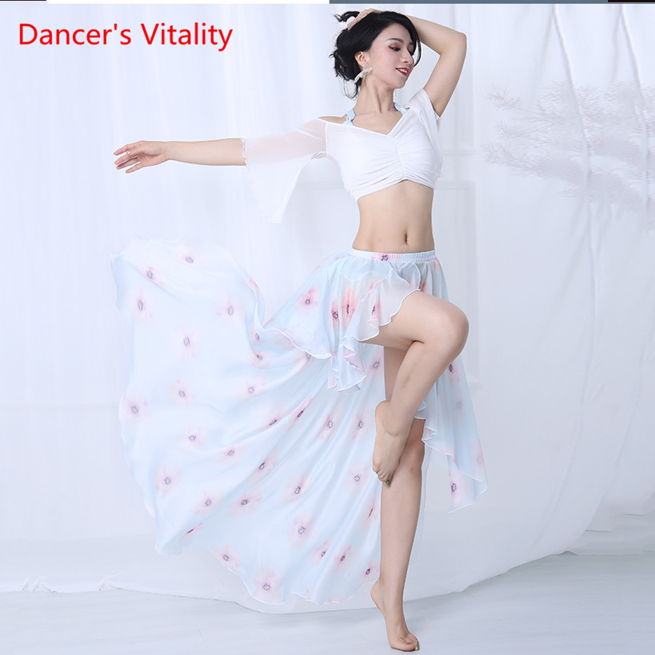Summer Chiffon Sexy Women Oriental Dance Practice Clothes Belly Dance Party Costume white top Long Skirt