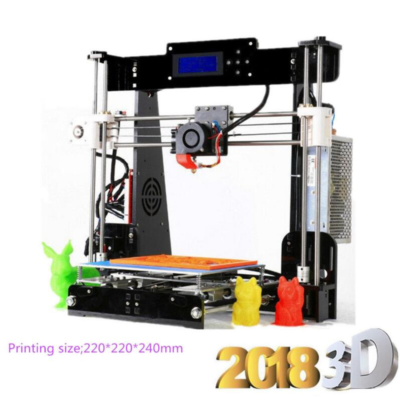 цена на zrprinting A8 3D Printer Prusa i3-LCD2004-MK3 Heatbed-DIY kit MK8 Extruder