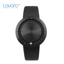 LAVARO Black Thin Men Watch Fashion Unisex Womens Quartz Wristwatch Stainless Steel Big Case With Steel Ball Calf Leather Strap
