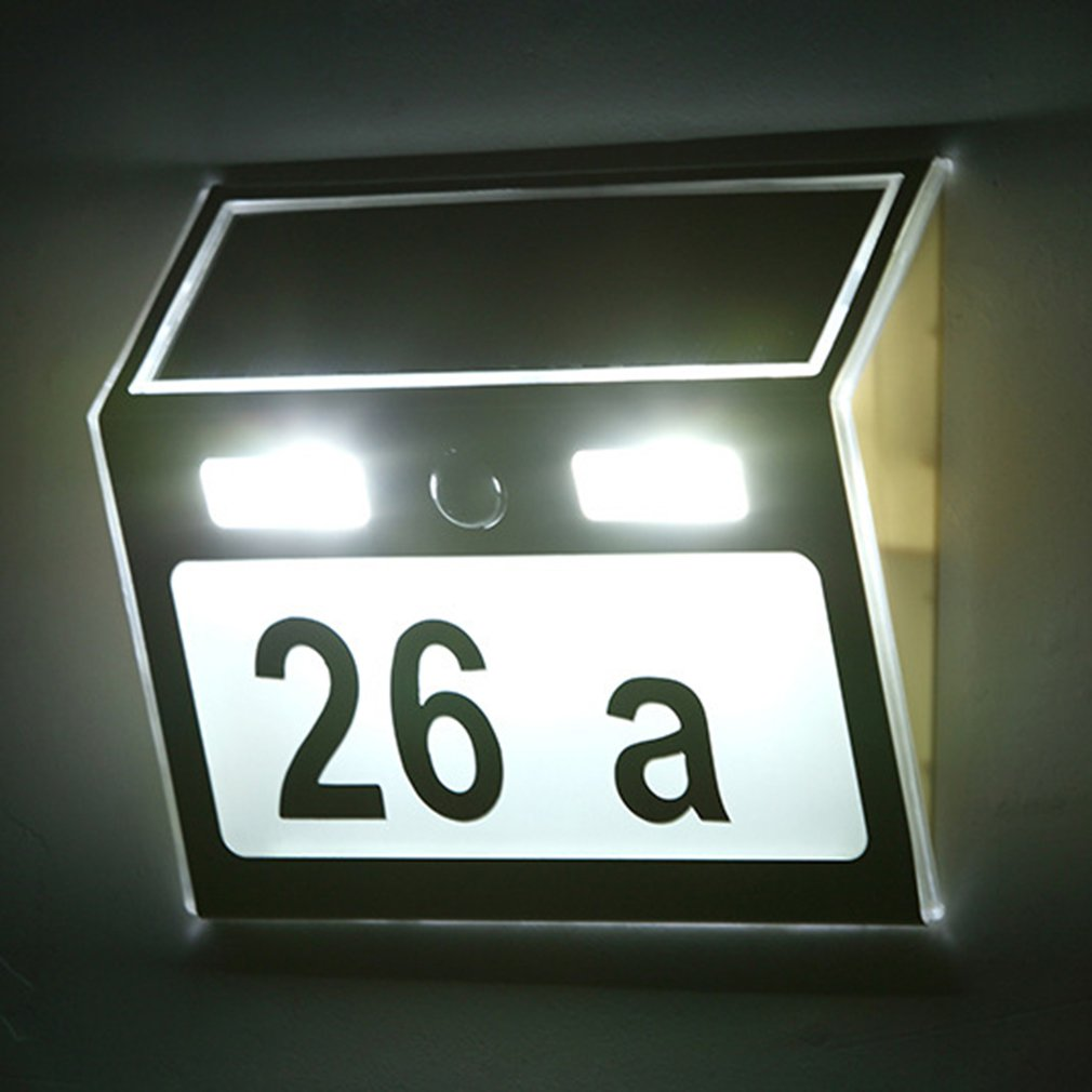Polysilicon house number lamp Solar Power LED Light Sign House Hotel Door Address Plaque Number Digits Plate 1