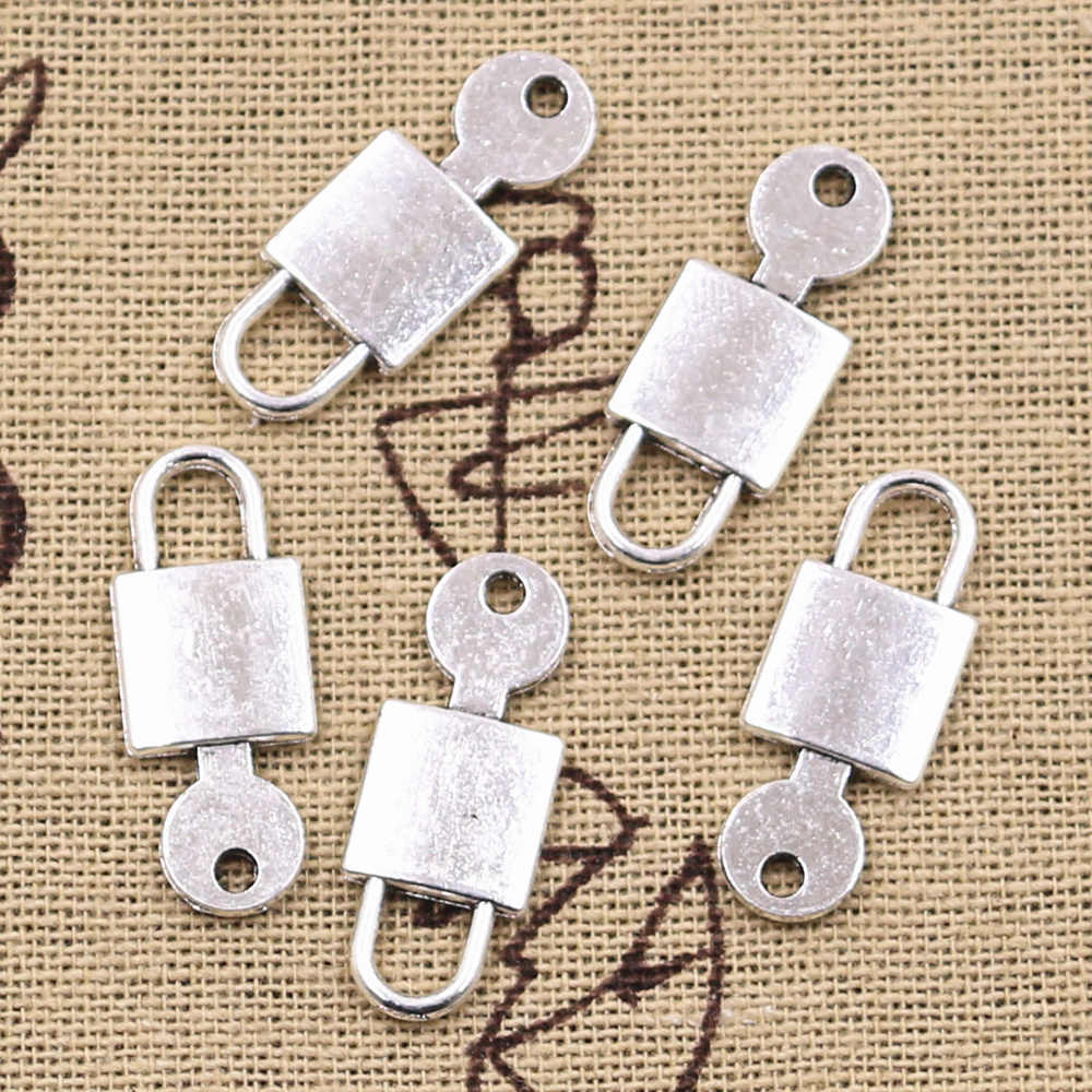 10pcs Charms key unlock lock 25x10mm Antique Silver Plated Pendants Making DIY Handmade Tibetan Silver Finding Jewelry