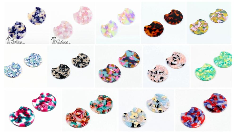 Acetate Acrylic Earring Charms-Big size Circle Shaped Pendant-Earring findings-jewelry supply A1067A 6PCS 1.77 Tortoise Shell 45mm