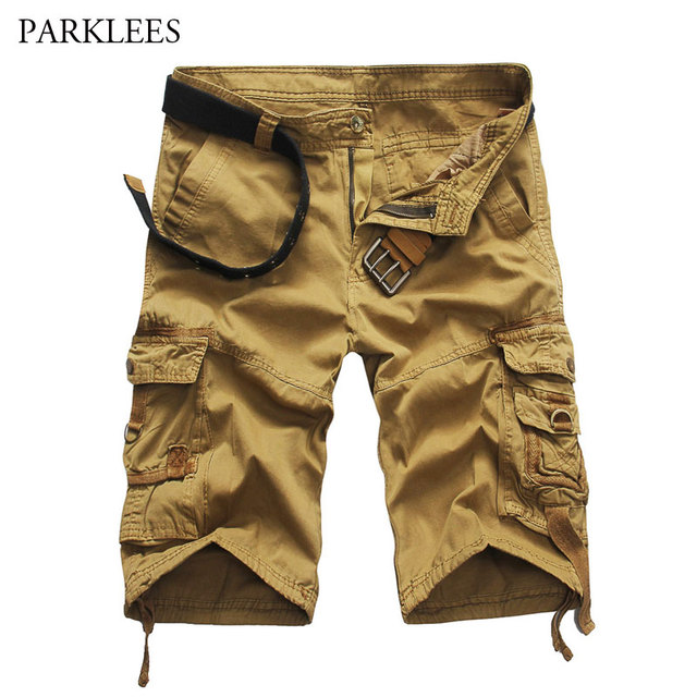 30bf79ac28 Nueva tendencia Cargo Shorts hombres 2018 verano marca Mens Casual rodilla  longitud pantalones cortos de algodón