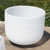 8 Inch B Chakra Grown Frosted Quartz Crystal Singing Bowl