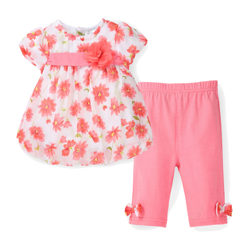 2016 New Summer Baby Girl Floral Print Chiffon T-shirt + Cotton Capris Pants Infant Clothing Set Newborn Bebes Clothes