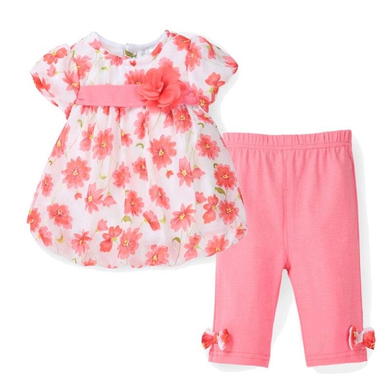 163590b4f 2017 New Summer Baby Girl Floral Print Chiffon T-shirt + Cotton Capris Pants  Infant Clothing Set Newborn Bebes Clothes