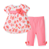 2016 New Summer Baby Girl Floral Print Chiffon T Shirt Cotton Capris Pants Infant Clothing Set