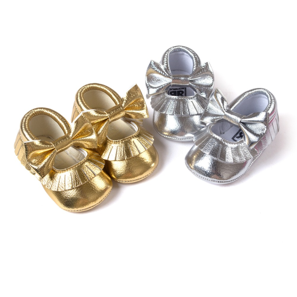 Silver gold baby girls boys butterfly knot sneakers shoes baby first walkers newborn infantil bebe shoes