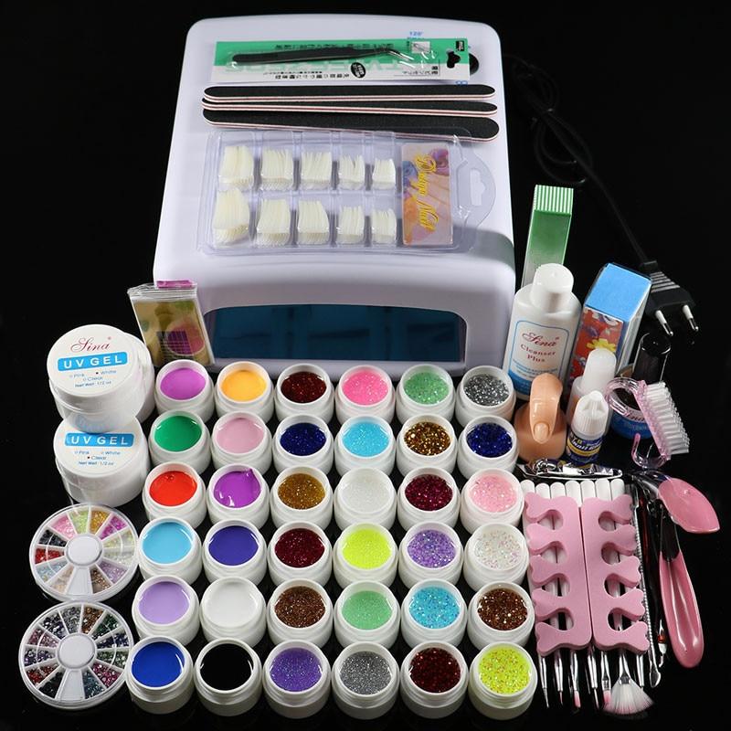 Free Shipping New Pro 36W UV GEL White/Pink Lamp & 36 Color UV Gel Nail Art Tools Sets Kits pro 36w uv gel pink lamp