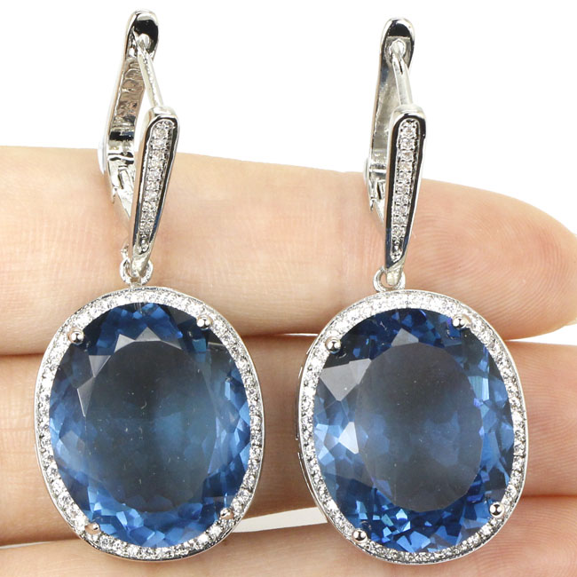 Big Oval Gem 22x18mm London Blue Topaz, White CZ Woman's Silver Earrings 40x20mm