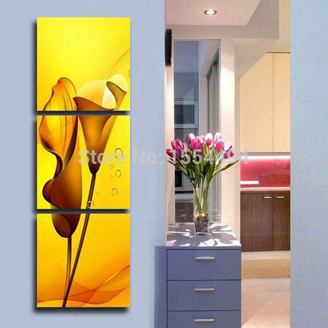 Framed hand painted large canvas painting yellow flowers Calla lily ...