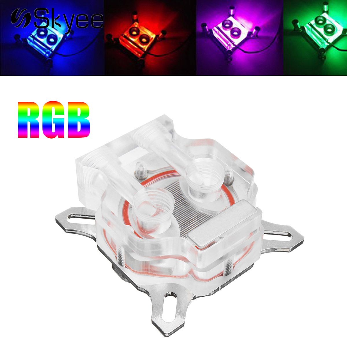 PC Water Cooling Block RGB LED Light Video Card GPU Core Cover Water Heatsink Suitable for 43-53mm Hole Pitch VGA-TMD wt 021 43 53mm hole distance transparent graphics card pom cooling head black silver