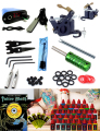 Pro Complete Tattoo Kit Top Rotary Tattoo Machine 40 bottles of black Ink 50 Needle Tattoo Power Supply Tattoo Rotary Gun