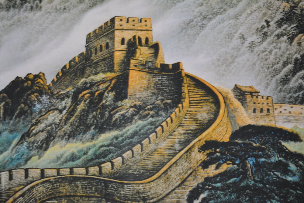 Hand-painted Chinese paintings, long axis of the Qing Dynasty in China,the Great Wall,Free shippingHand-painted Chinese paintings, long axis of the Qing Dynasty in China,the Great Wall,Free shipping