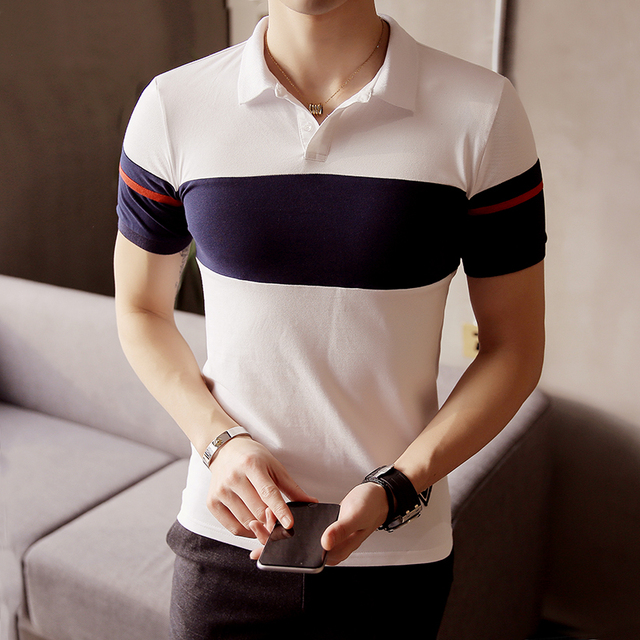 Men's POLO Shirt 2017 Summer Stripes Stitching Slim Casual New Short Sleeve POLO Young Large Size Business POLO Shirt Male M~5XL