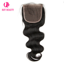 Hot Beauty Hair Brazilian Virgin Hair Body Wave 4*4 Lace Closure Natural Black Color Human Hair Closure 1PC