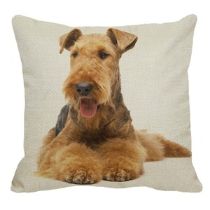 XUNYU Airedale Terrier Breed Standard Pattern Linen Pillow Case Sofa Square Decorative Pillow Cover Animal Cushion Cover 45x45cm(China)