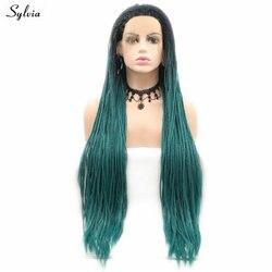 Сильвия длинные плетеные парики зеленый/коричневый/оранжевый/серый/фиолетовый/красный синтетический парик фронта шнурка Косплей Омбре па...