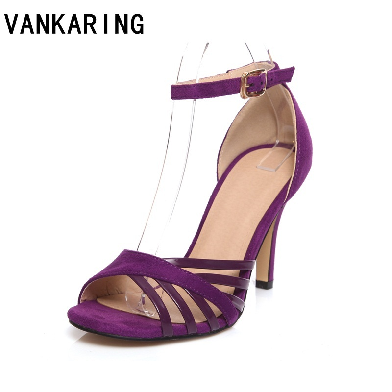 VANKARING hot sale summer shoes leather sandals thin high heels 2019 fashion narrow band party dress