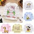 Nova Primavera Roupas de Bebê Bebê Meninos T Camisas de Manga Longa Meninas do bebê T-shirt 100% Algodão macio Da Criança Roupas para a Menina Tees