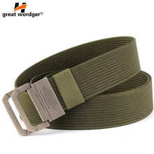 New Fashion Solid Mens Canvas Belt Military Equipment Double Ring Buckle Thicken Belts for Men Waistband Strap