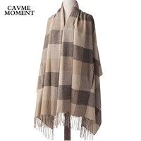CAVME Plaid Wool Poncho Scarf Women Wearing Ladies Big Scarves Woolen Blanket Shawl Cappa with Tassels for Femme 80*194cm 330g