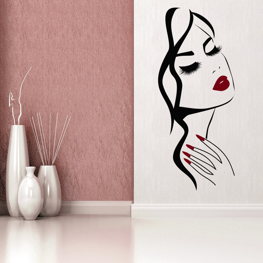 Beauty woman Salon Manicure Nail Salon Wall Sticker Hand Girl Face Vinyl Decal for home decor Art wallpaper wall Mural Removable