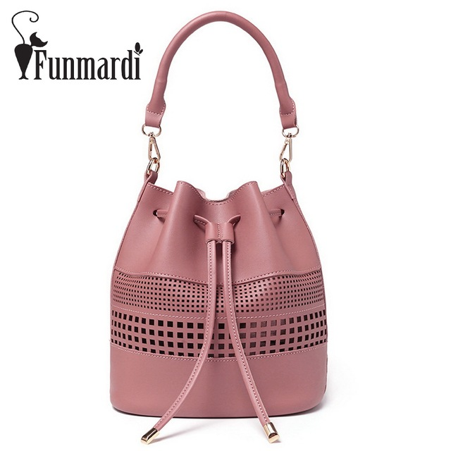 Funmardi Luxury Hollow Out Pu Leather Bucket Bags Fashion Composite Bag Female Handbags Star Style