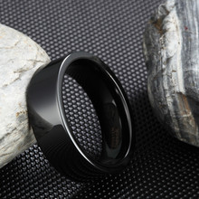 SOMEN 8MM Black Pure Tungsten Carbide Wedding Band Engagement Ring For Men Matte Polished Center Jewelry Bague Homme