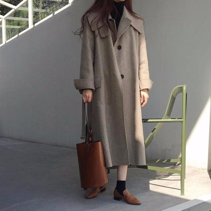 2019 Women Winter New Woolen Coat Solid Color Double Sided Cashmere Coat Loose Lapel Single Breasted Woolen Coat Ladies Jackets